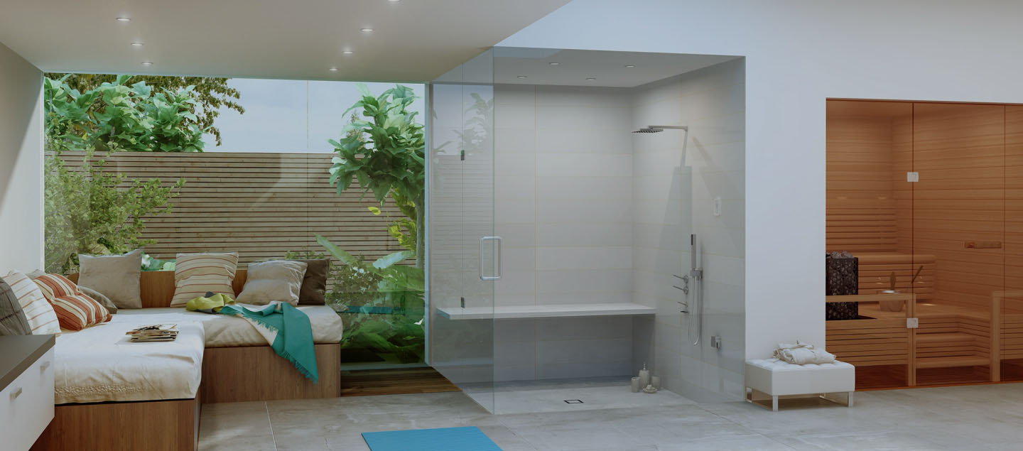 Commercial steam room and sauna